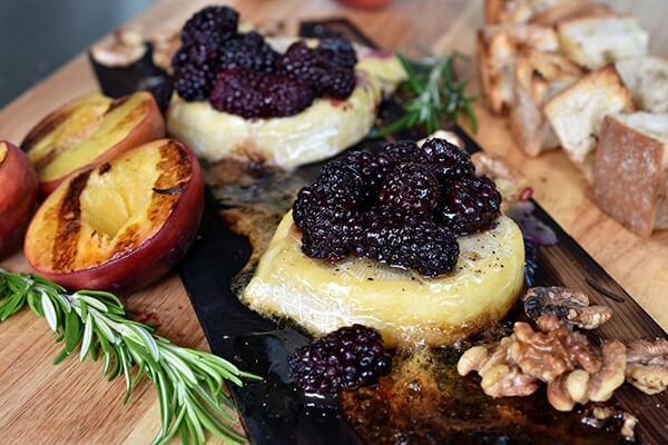 Blog Thumbnail Cedar Plank Cheese with Grilled Peaches and Rosemary Croutons